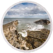 Sea Meets Rocks At Howick Round Beach Towel