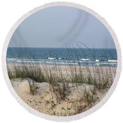 Sea Oats By The Ocean Round Beach Towel