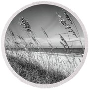 Sea Oats In Black And White Round Beach Towel