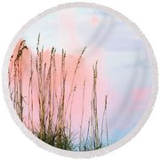 Sea Oats Round Beach Towel by Kristin Elmquist