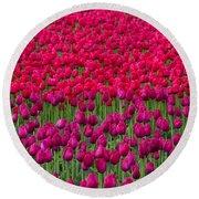 Sea Of Tulips Round Beach Towel