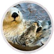 Sea Otter Portrait Round Beach Towel