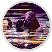 Sea Otter Swimming Floating Water  Round Beach Towel