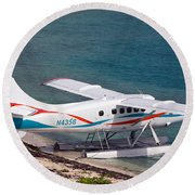 Sea Plane At Dry Tortugas National Park Round Beach Towel