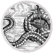 Sea Serpent, 1555 Round Beach Towel