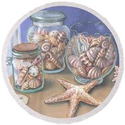 Sea Shell Collection Round Beach Towel