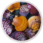 Sea Shells And Sea Glass Round Beach Towel