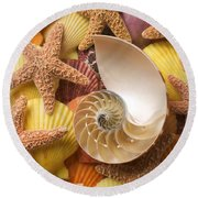 Sea Shells And Starfish Round Beach Towel by Garry Gay