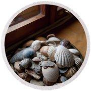 Sea Shells And Stones On Windowsill Round Beach Towel