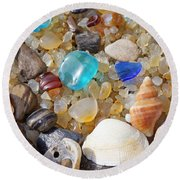 Sea Shells Art Prints Blue Seaglass Sea Glass Coastal Round Beach Towel
