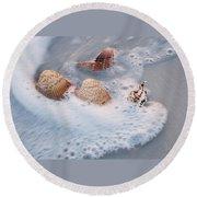 Sea Shells In A Wave Of Foam Round Beach Towel