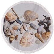 Sea Shells On White Sand Round Beach Towel