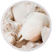 Sea Snails And Molluscs Empty Shells Sepia Toned  Round Beach Towel