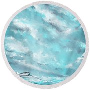 Sea Spirit - Teal And Gray Art Round Beach Towel