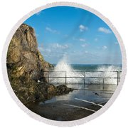 Sea Spray At Mevagissey Harbour Round Beach Towel