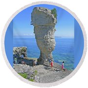 Sea Stack Perspective Round Beach Towel