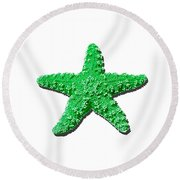 Sea Star Green .png Round Beach Towel