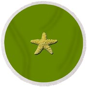 Sea Star Yellow .png Round Beach Towel
