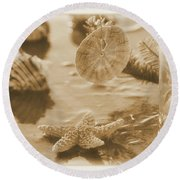 Sea Treasure -sepia Round Beach Towel