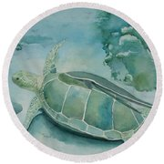 Sea Turtle And Friend Round Beach Towel