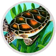 Sea Turtle Honu #352 Round Beach Towel