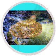 Sea Turtle In Hawaii Round Beach Towel