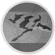 Sea Turtle Inlay In Grayscale Round Beach Towel