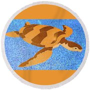 Sea Turtle Inlay In Vibrant Colors Round Beach Towel