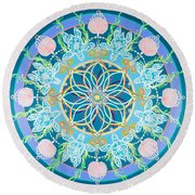 Sea Turtle Mandala  Round Beach Towel