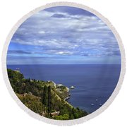 Sea View From Taormina Round Beach Towel