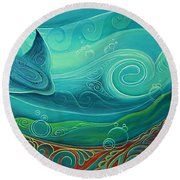 Seabed By Reina Cottier Round Beach Towel