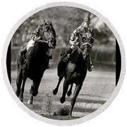Seabiscuit Vs War Admiral, Match Of The Century, Pimlico, 1938 Round Beach Towel