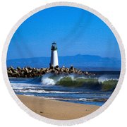 Seabright Beach Lighthouse With Surf Round Beach Towel