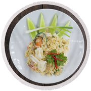 Seafood Fried Rice Round Beach Towel