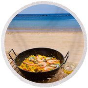Seafood Paella In Cafe Round Beach Towel