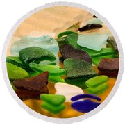 Seaglass Reflections Round Beach Towel