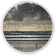 Seagull At Cannon Beach Round Beach Towel
