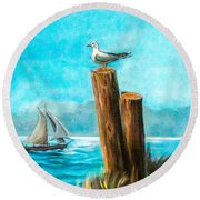 Seagull At Port Entrance Round Beach Towel