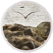 Seagull Flying Into Ocean Jetty Round Beach Towel