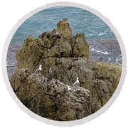 Seagull Island On Cefalu In Sicily  Round Beach Towel