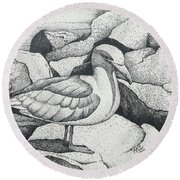 Seagull On Rocks Round Beach Towel
