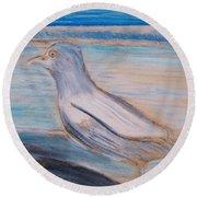 Seagull  On Seashore Round Beach Towel