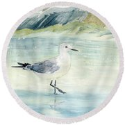 Seagull On The Beach Round Beach Towel