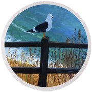Seagull On The Fence Round Beach Towel