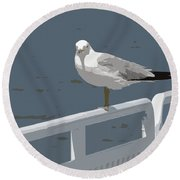 Seagull On The Rail Round Beach Towel