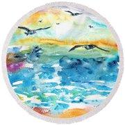 Seagull Seas Round Beach Towel