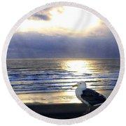 Seagull Sentinel Round Beach Towel
