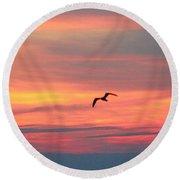 Seagull Silhouette Round Beach Towel