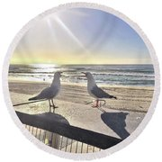 Seagull Sonnet  Round Beach Towel