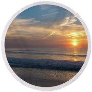 Seagull Sunrise Along The Jersey Shore Round Beach Towel